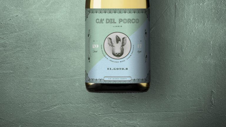Weinflasche von der Marke Ca' del Porco - Winepunk Marco Zanetti, Veneto Italien - Design der Etiketten, Logo und Branding, Weinmarketing von der Designagentur Yummy Stories