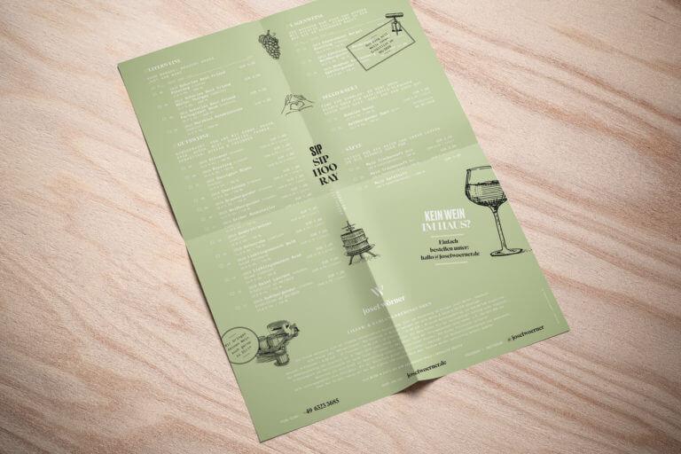 Weinliste vom Weingut aus Edesheim Pfalz - Design der Etiketten, Logo und Branding, Weinmarketing von der Designagentur Yummy Stories