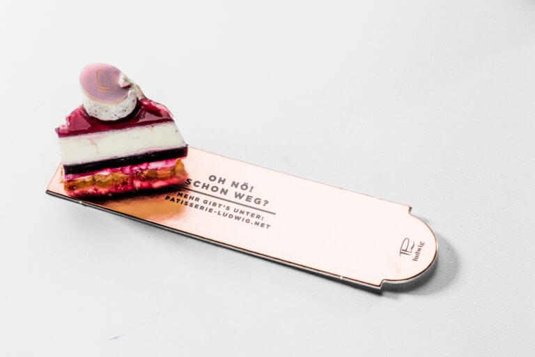 Verpackungsdesign, Design und Kommunikation Pâtisserie Ludwig - Karlsruhe - Design der Etiketten, Logo und Branding, Marketing, Website, Onlineshop von der Designagentur Yummy Stories